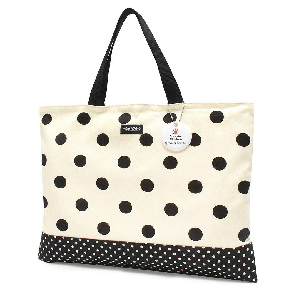 decor PolkaDot レッスンバッグ リバーシブル polka dot large(twill・white)xpolka dot small(twill・black)_1