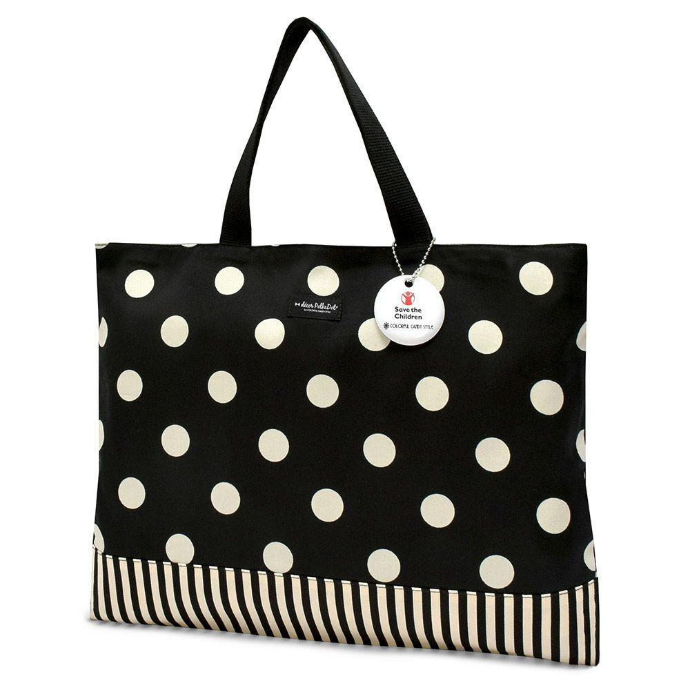 decor PolkaDot レッスンバッグ リバーシブル polka dot large(twill・black)xnarrow stripe(twill・black)_1