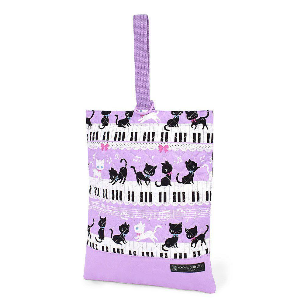 シューズケース キルティング(ネームタグ付き) ピアノの上で踊る黒猫ワルツ(ラベンダー)_1