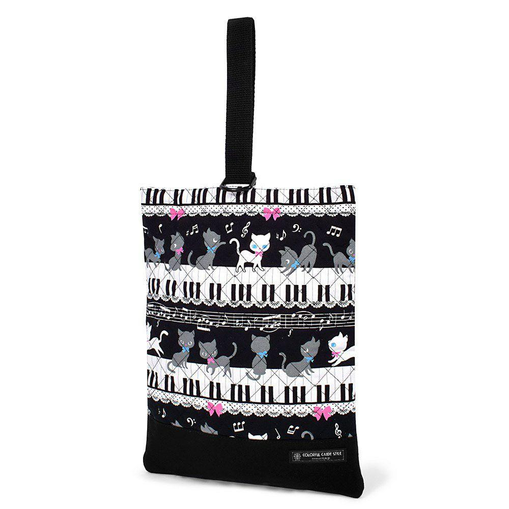 シューズケース キルティング(ネームタグ付き) ピアノの上で踊る黒猫ワルツ(ブラック)_1