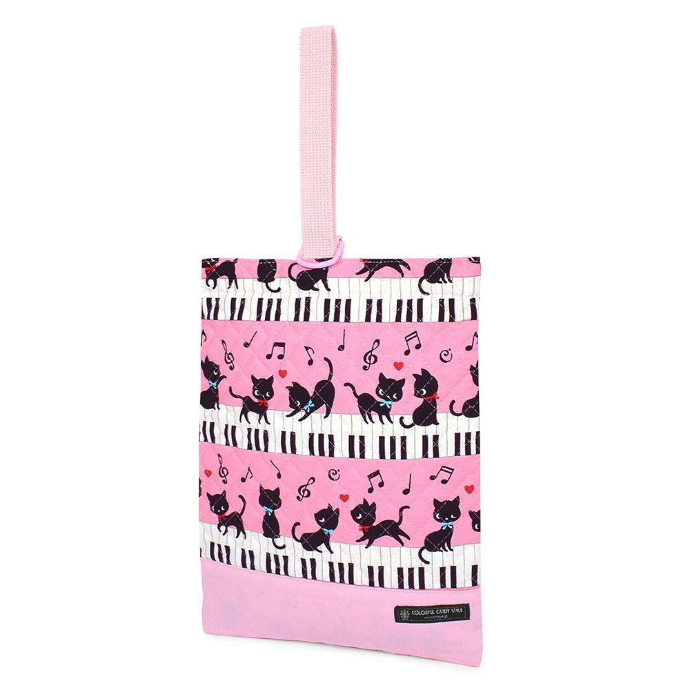 シューズケース キルティング(ネームタグ付き) 黒猫のピアノレッスン(ピンク)2018_1