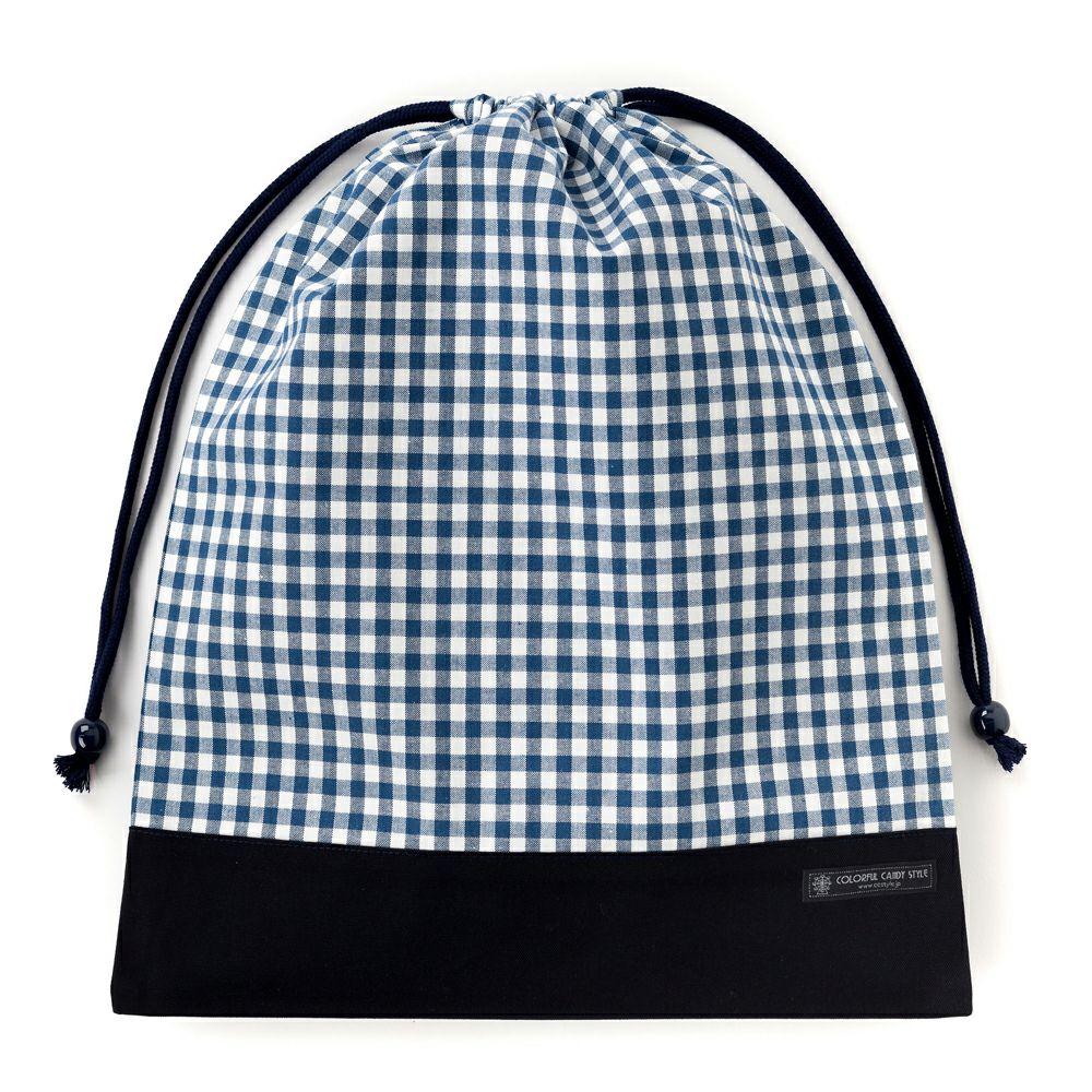 巾着 大 体操服袋(ネームタグ付き) チェック大・紺 × オックス・紺_1