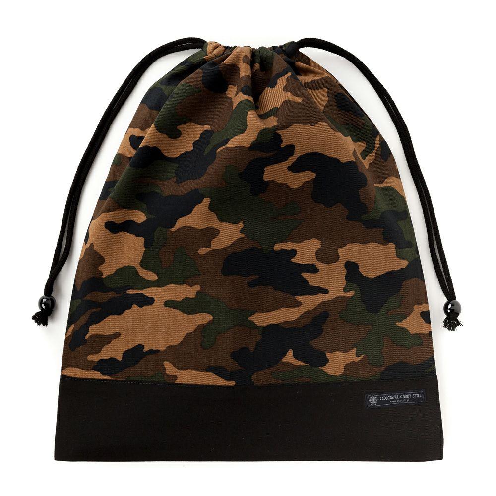 巾着 大 体操服袋(ネームタグ付き) 迷彩・モスグリーン × オックス・黒_1