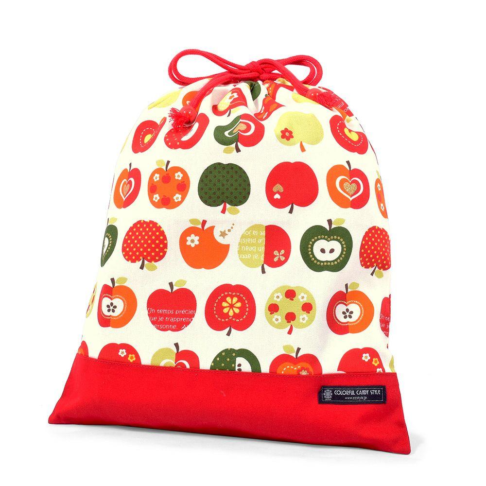 巾着 大 体操服袋(ネームタグ付き) おしゃれリンゴのひみつ(アイボリー) × オックス・赤_1
