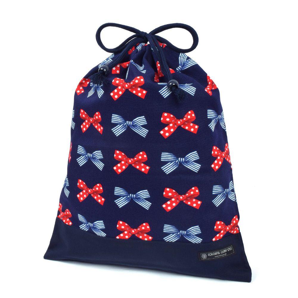 巾着 大 体操服袋(ネームタグ付き) ポルカドットとストライプのフレンチリボン(ネイビー)×オックス・紺_1