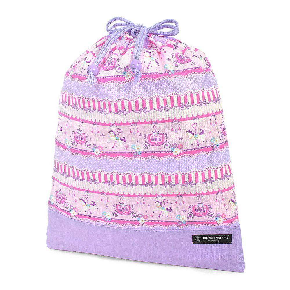 巾着 大 体操服袋(ネームタグ付き) レースチュールとメリーゴーランド(ピンク) × オックス・ラベンダー_1