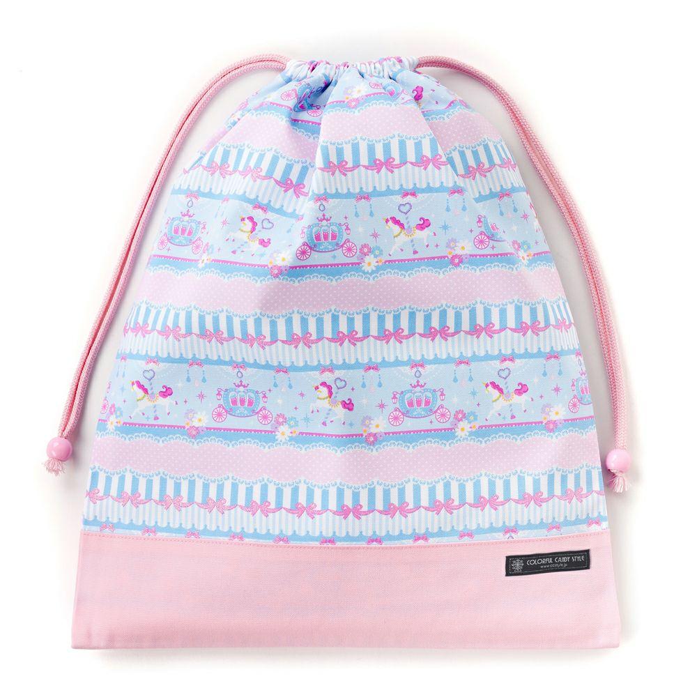 巾着 大 体操服袋(ネームタグ付き) レースチュールとメリーゴーランド(ライトブルー) × オックス・ピンク_1