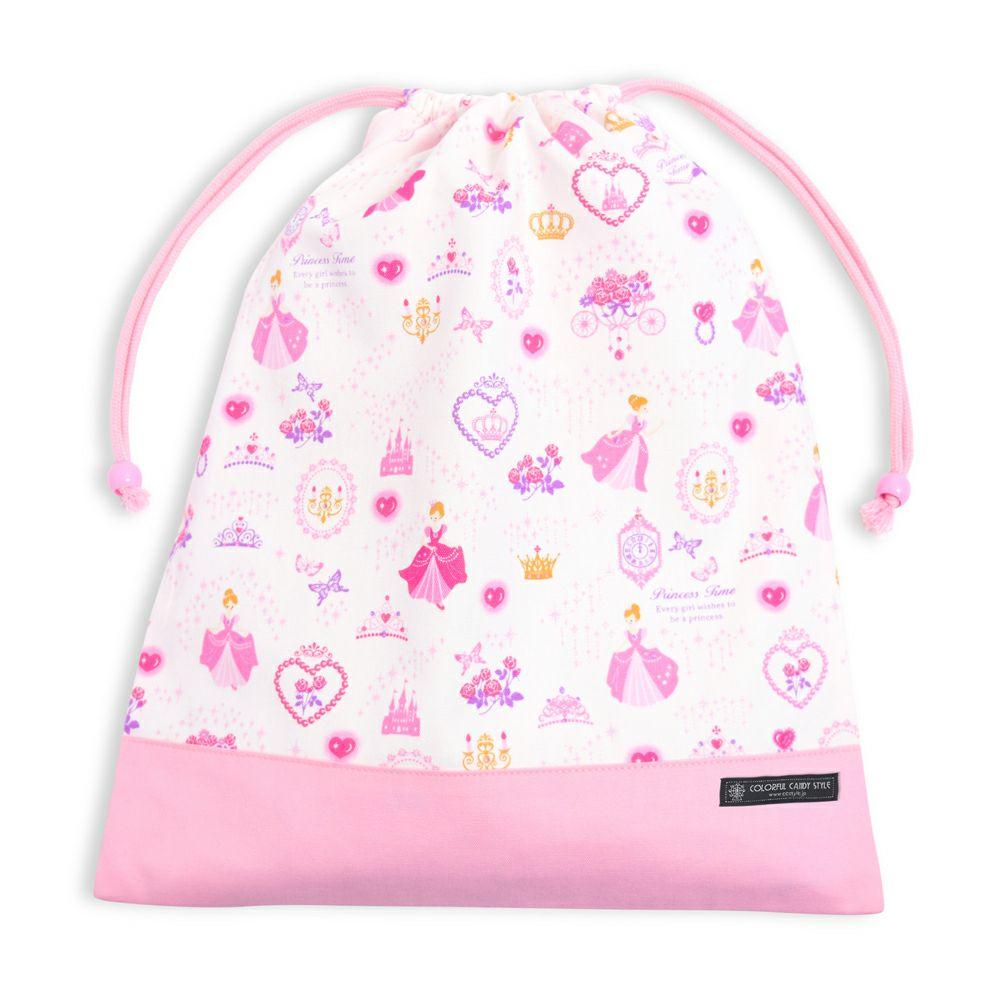 巾着 大 体操服袋(ネームタグ付き) プリンセスドレスで彩るパウダールーム(ホワイト) × オックス・ピンク_1