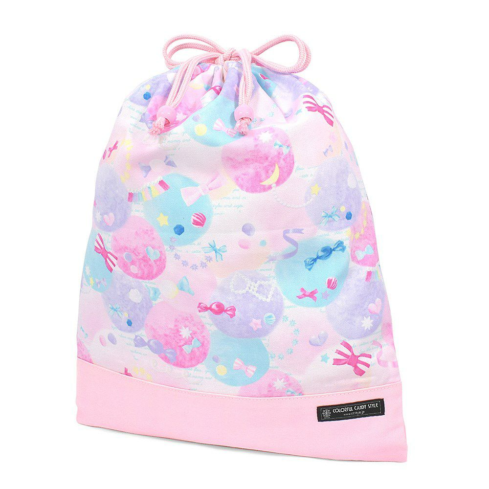巾着 大 体操服袋(ネームタグ付き) ふわふわキュートなキャンディポップ × オックス・ピンク_1
