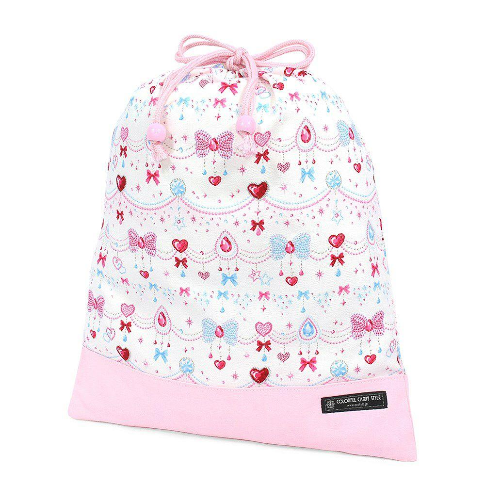 巾着 大 体操服袋(ネームタグ付き) きらきらリボンのジュエリーボックス × オックス・ピンク_1