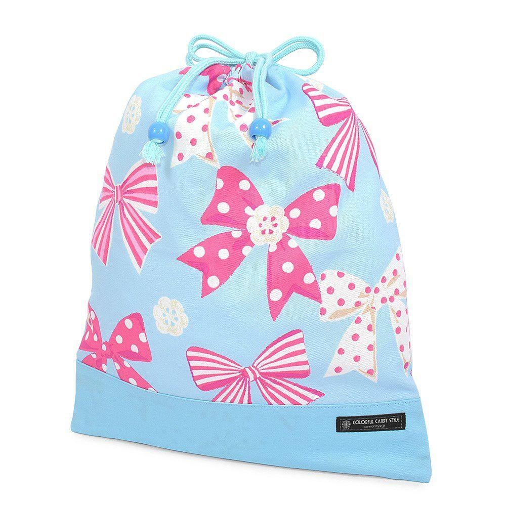 巾着 大 体操服袋(ネームタグ付き) アクアに揺れる大きなリボンコレクション × オックス・水色_1