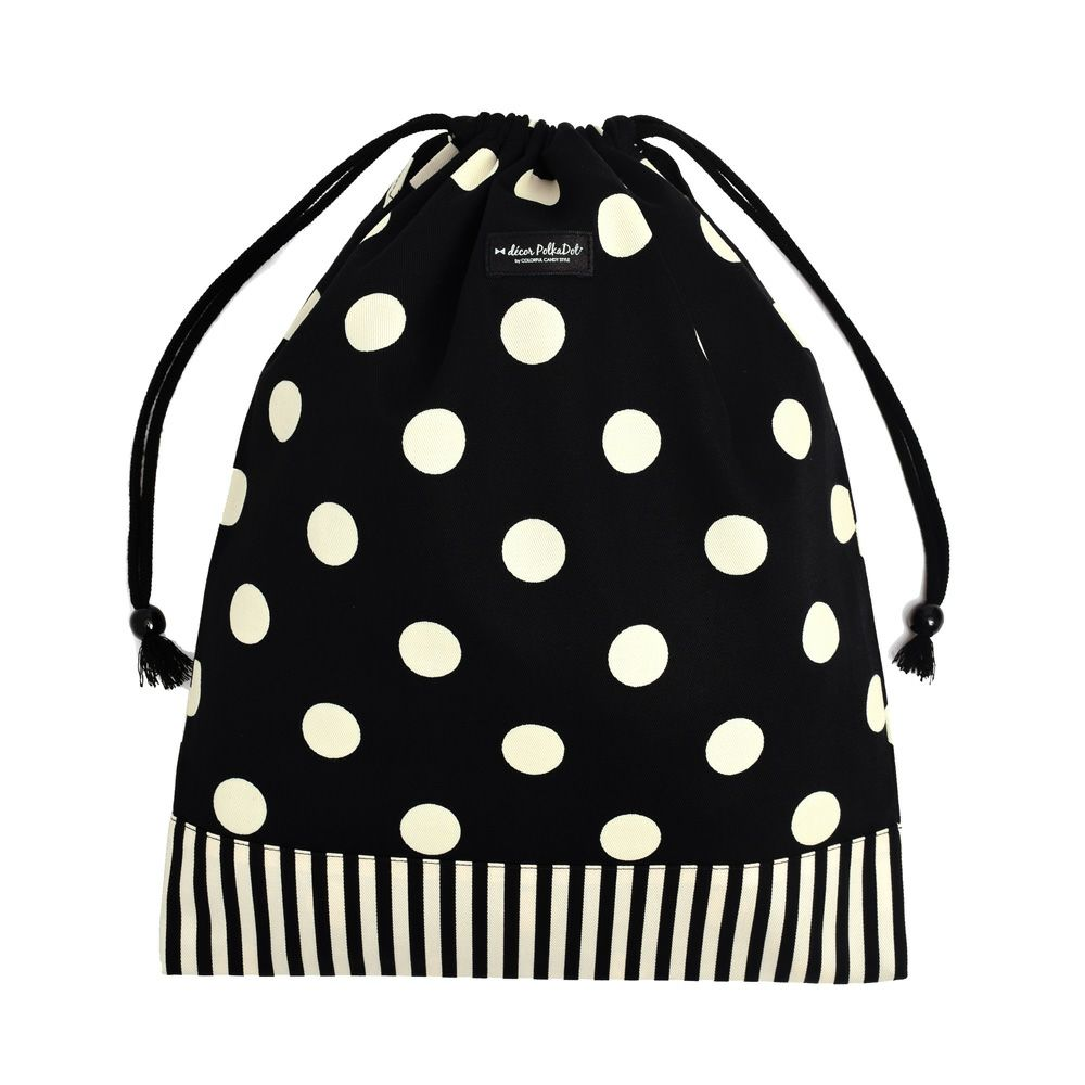 decor PolkaDot 巾着 大 体操服袋 polka dot large(twill・black)xnarrow stripe(twill・black)_1