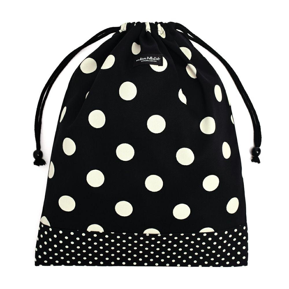 decor PolkaDot 巾着 大 体操服袋 polka dot large(twill・black)xpolka dot small(twill・black)_1