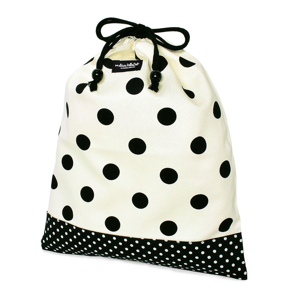 decor PolkaDot 巾着 大 体操服袋 polka dot large(twill・white)xpolka dot small(twill・black)_1