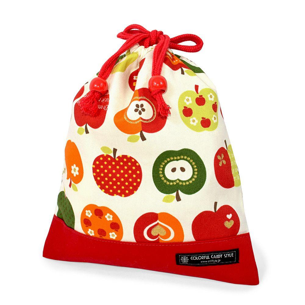 巾着 中 マチ無し給食袋(ネームタグ付き) おしゃれリンゴのひみつ(アイボリー) × オックス・赤_1