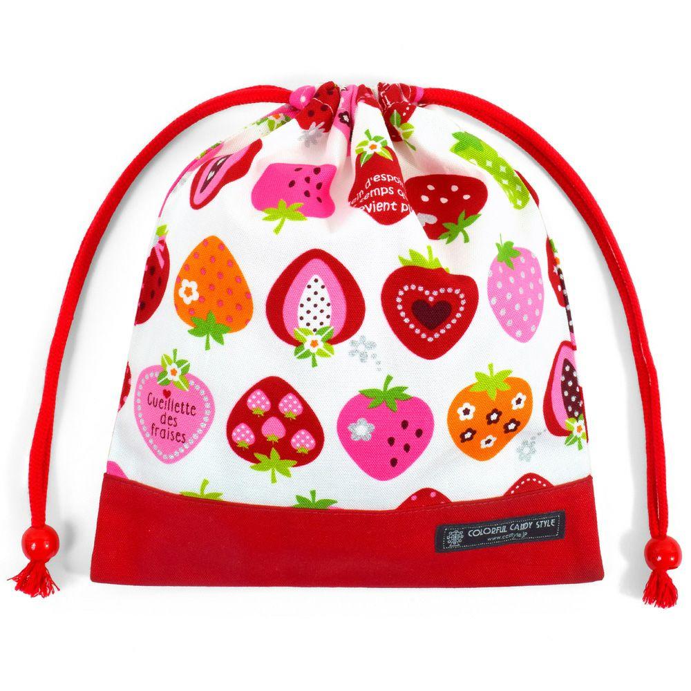 巾着 中 マチ無し給食袋(ネームタグ付き) スイートストロベリーコレクション(アイボリー) × オックス・赤_1