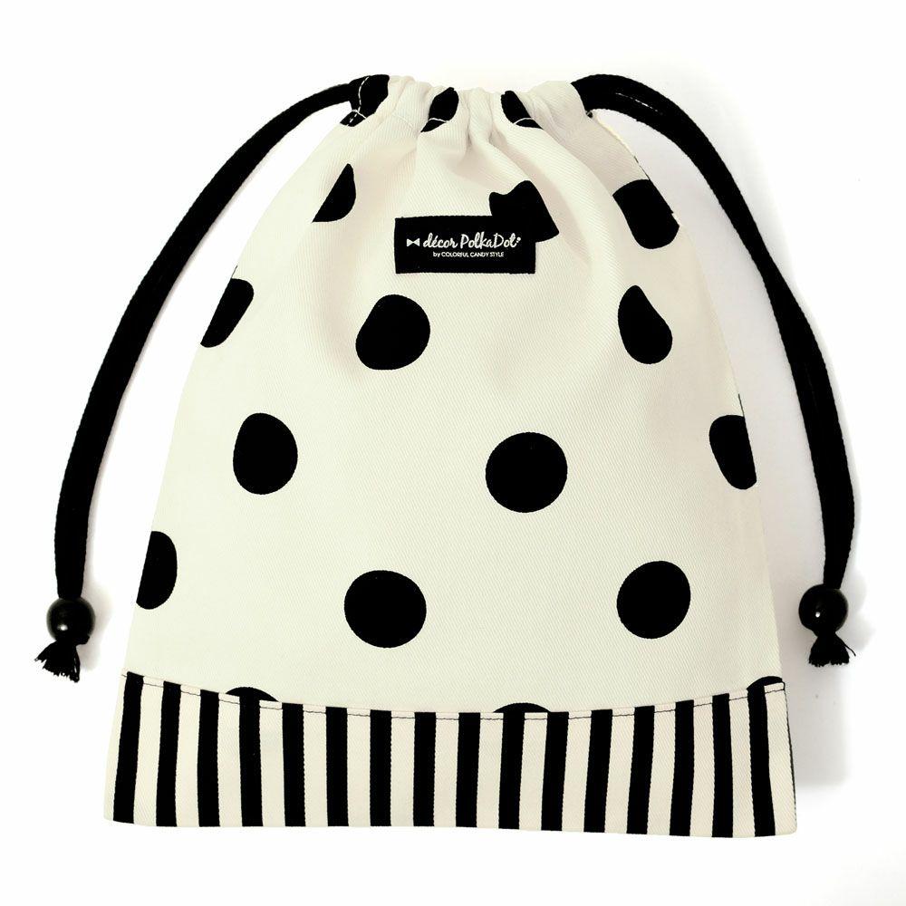 decor PolkaDot 巾着 給食袋 polka dot large(twill・white)×narrow stripe(twill・black)_1