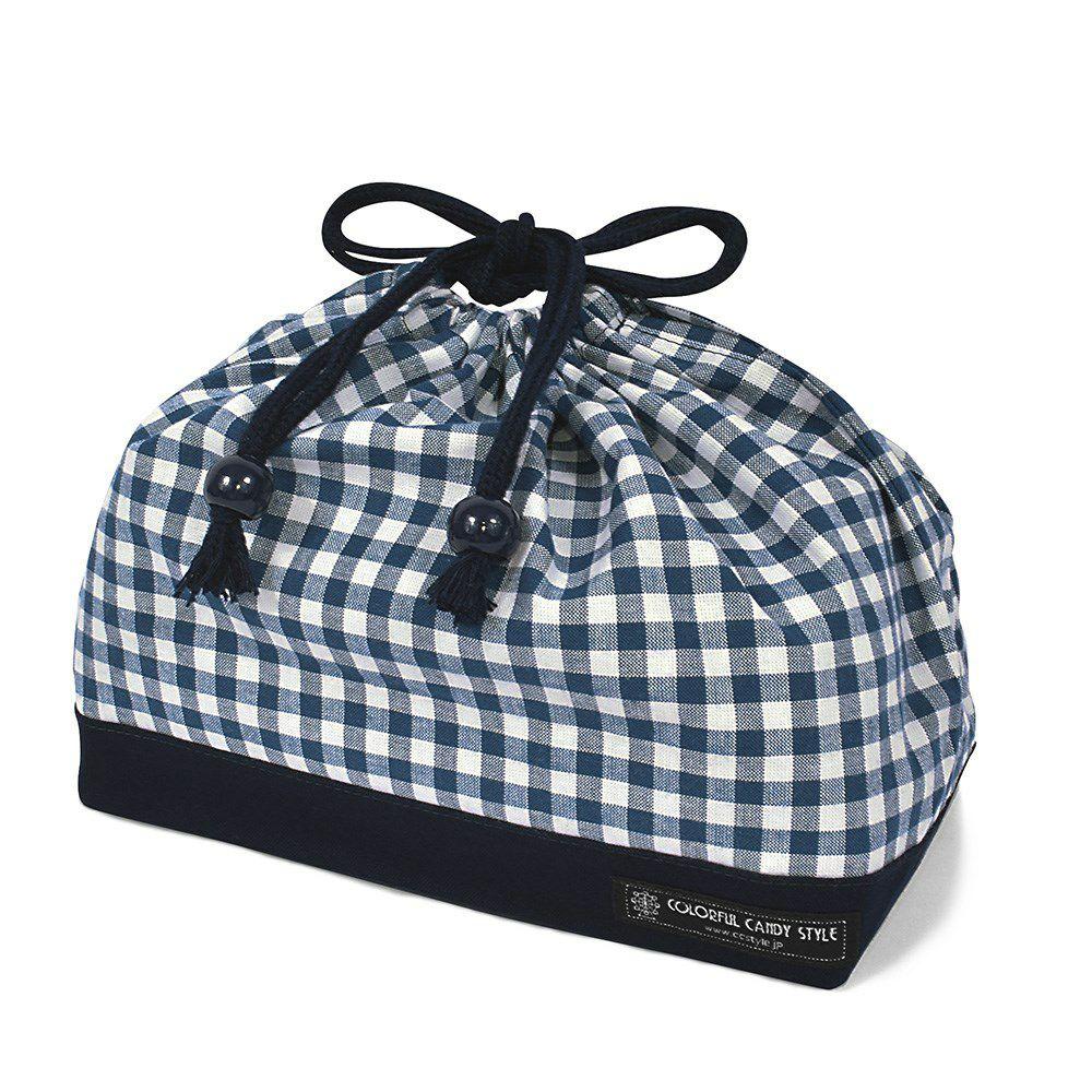 巾着 中 マチ有りお弁当袋(ネームタグ付き) チェック大・紺 × オックス・紺_1
