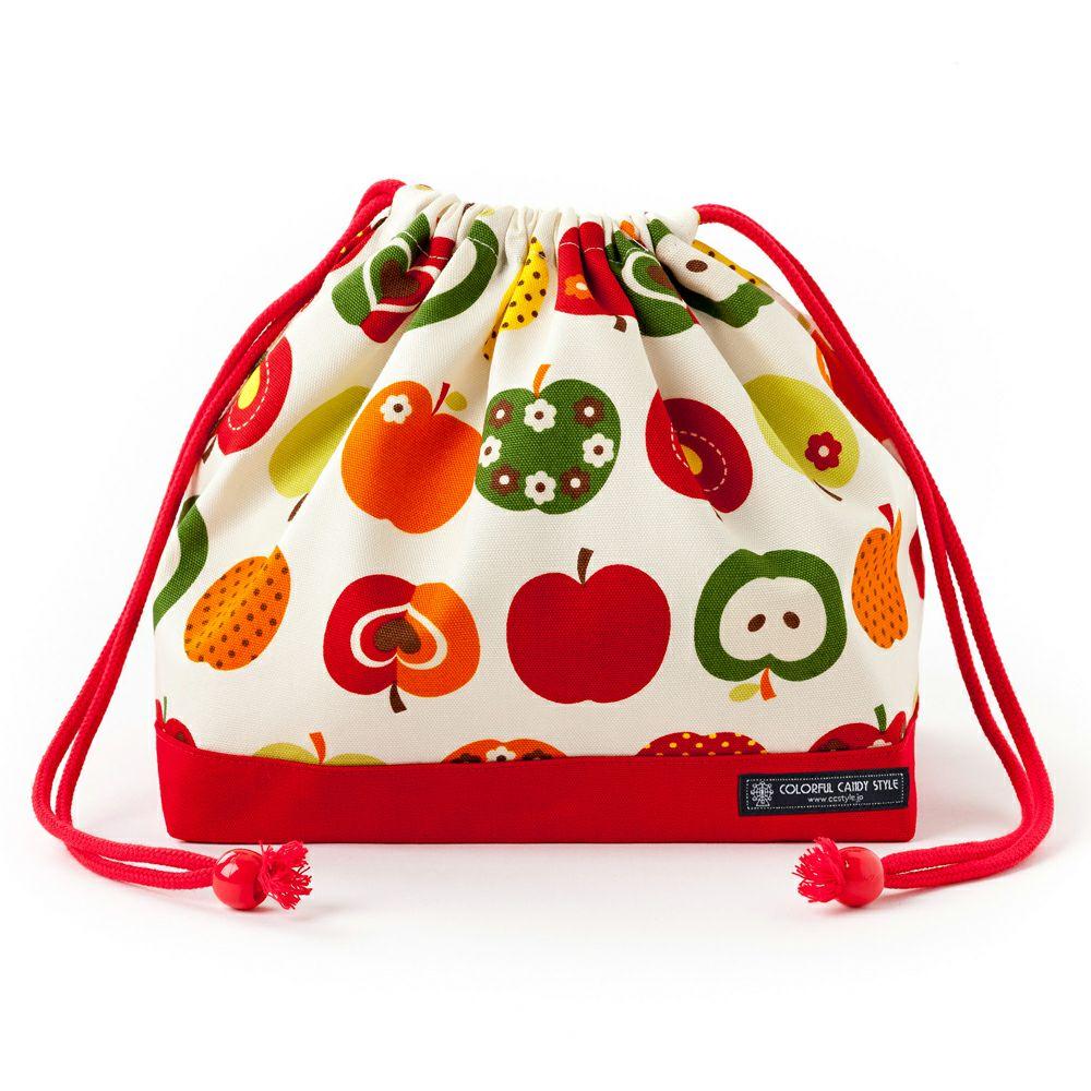 巾着 中 マチ有りお弁当袋(ネームタグ付き) おしゃれリンゴのひみつ(アイボリー) × オックス・赤_1