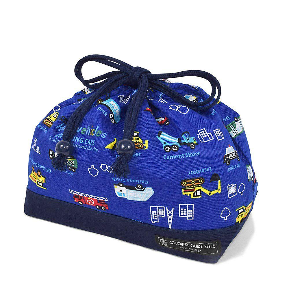巾着 中 マチ有りお弁当袋(ネームタグ付き) アクセル全開はたらく車(ロイヤルブルー) × オックス・紺_1