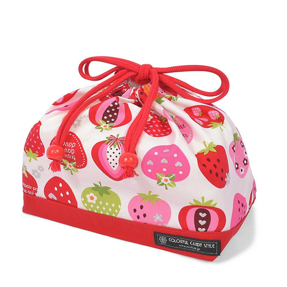 巾着 中 マチ有りお弁当袋(ネームタグ付き) スイートストロベリーコレクション(アイボリー)×オックス・赤_1