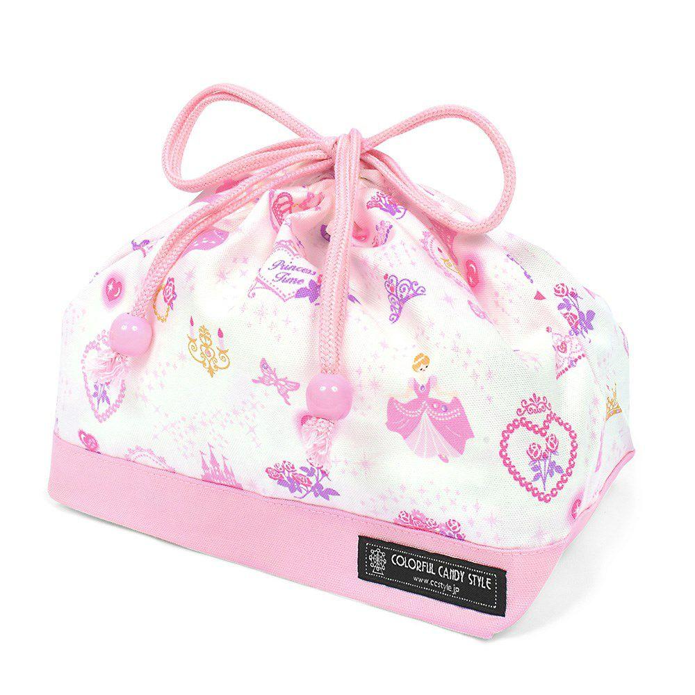 巾着 中 マチ有りお弁当袋(ネームタグ付き) プリンセスドレスで彩るパウダールーム(ホワイト) × オックス・ピンク_1