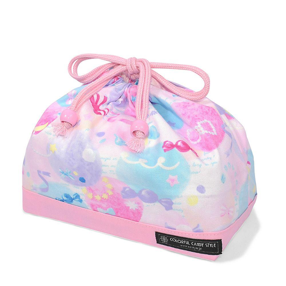 巾着 中 マチ有りお弁当袋(ネームタグ付き) ふわふわキュートなキャンディポップ × オックス・ピンク_1