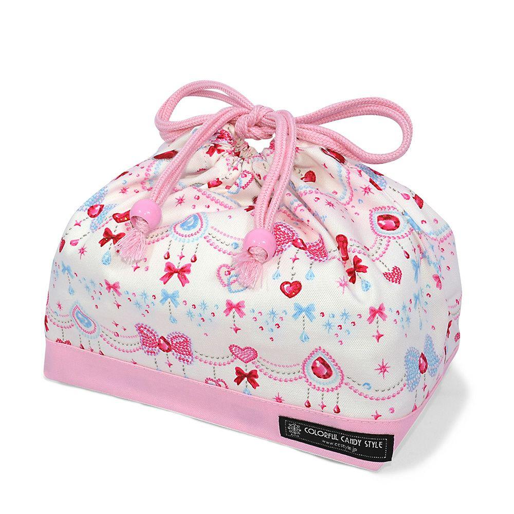 巾着 中 マチ有りお弁当袋(ネームタグ付き) きらきらリボンのジュエリーボックス × オックス・ピンク_1
