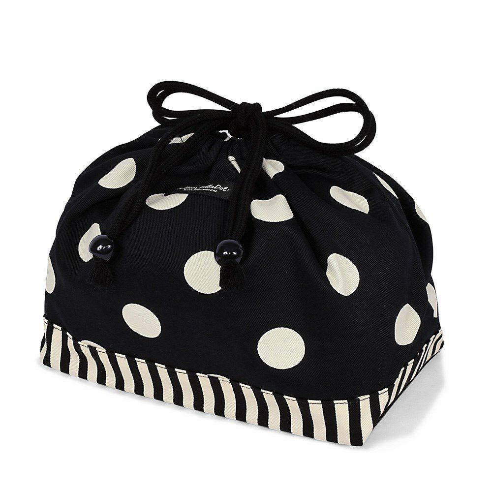 decor PolkaDot 巾着 中 マチ有りお弁当袋 polka dot large(twill・black)xnarrow stripe(twill・black)_1