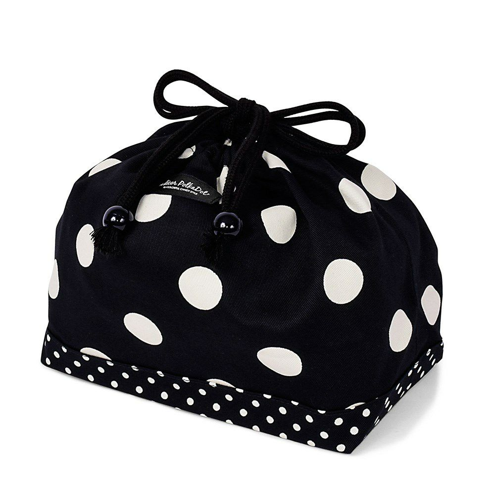 decor PolkaDot 巾着 中 マチ有りお弁当袋 polka dot large(twill・black)xpolka dot small(twill・black)_1