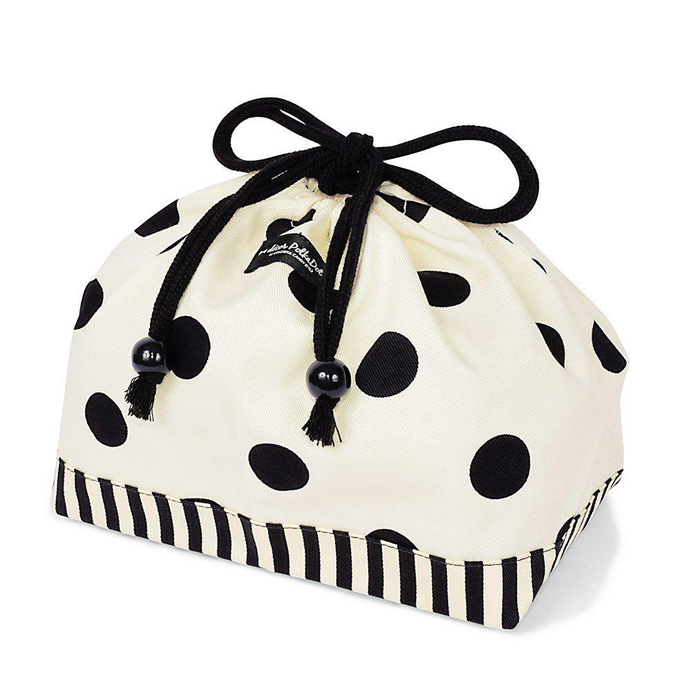 decor PolkaDot 巾着 中 マチ有りお弁当袋 polka dot large(twill・white)xnarrow stripe(twill・black)_1