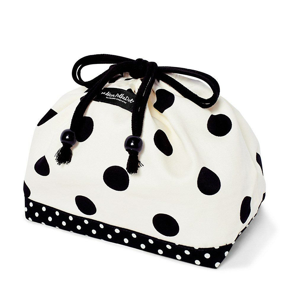 decor PolkaDot 巾着 中 マチ有りお弁当袋 polka dot large(twill・white)xpolka dot small(twill・black)_1