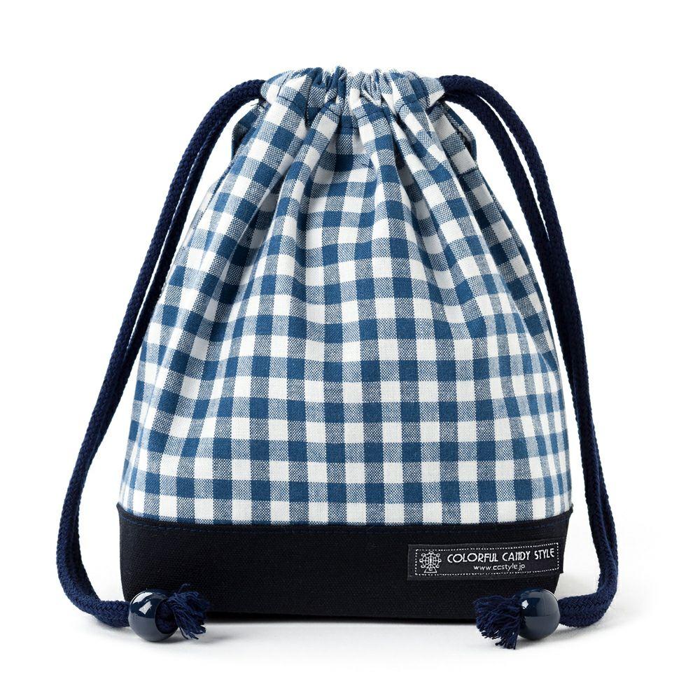 巾着 小 コップ袋(ネームタグ付き) チェック大・紺 × オックス・紺_1