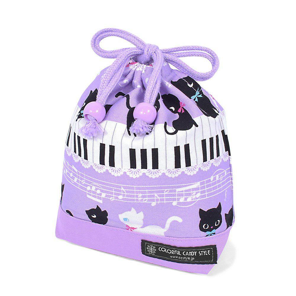 巾着 小 コップ袋(ネームタグ付き) ピアノの上で踊る黒猫ワルツ(ラベンダー) × オックス・ラベンダー_1