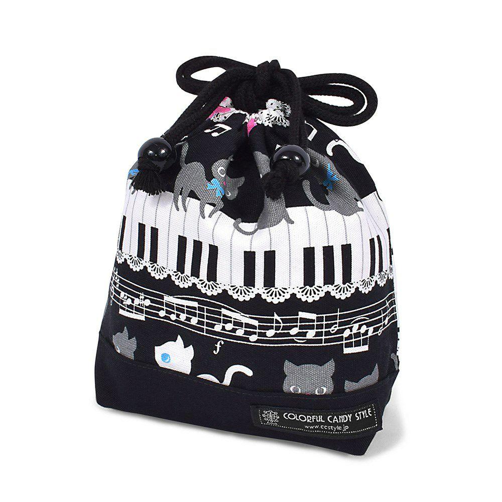 巾着 小 コップ袋(ネームタグ付き) ピアノの上で踊る黒猫ワルツ(ブラック) × オックス・黒_1