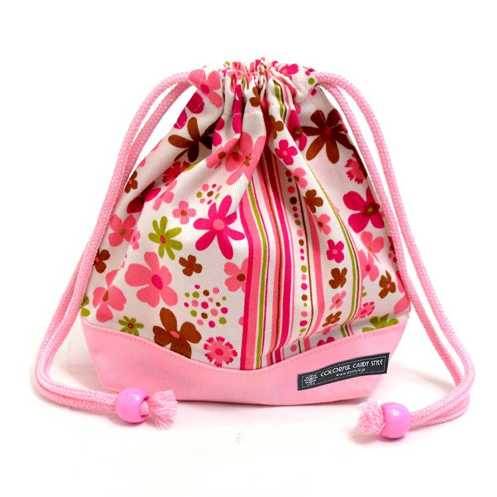 巾着 小 コップ袋(ネームタグ付き) スカンジナビアのフラワーパーク(ピンク) × オックス・ピンク_1