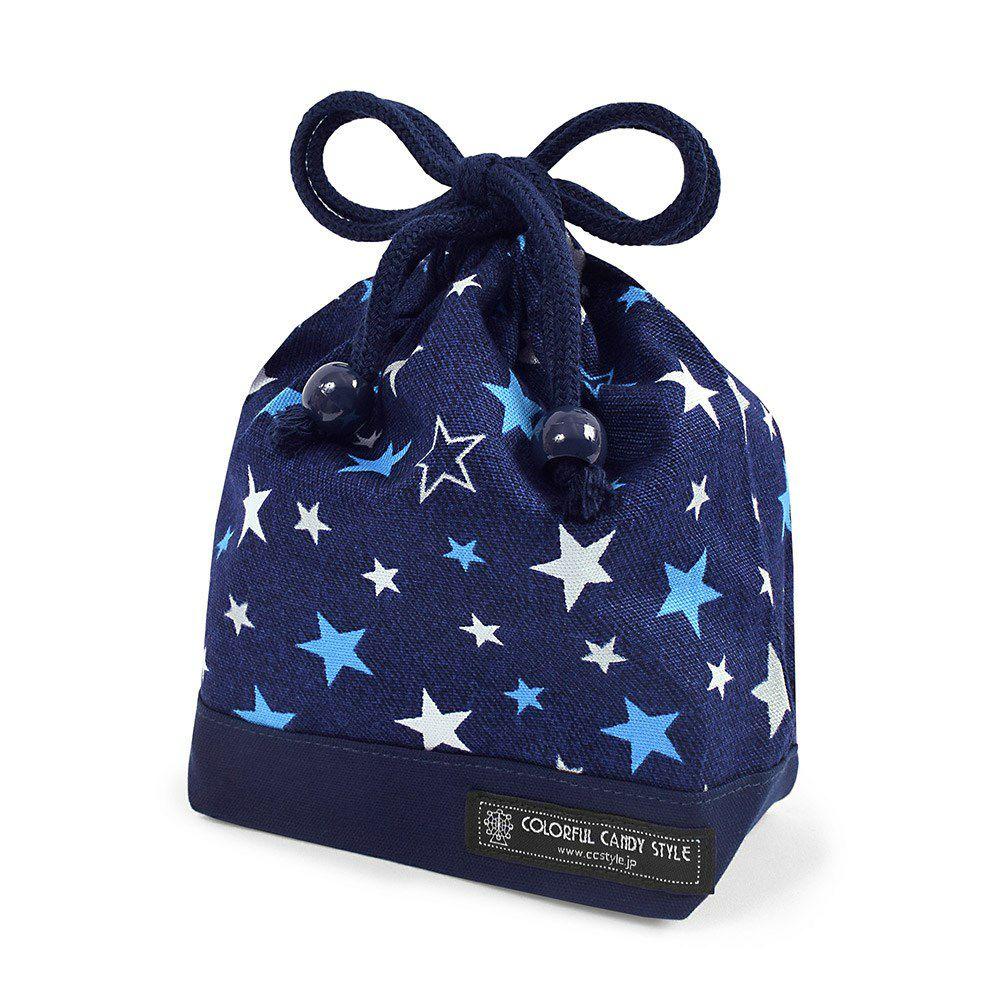 巾着 小 コップ袋(ネームタグ付き) ブリリアントスター 紺×オックス・紺_1