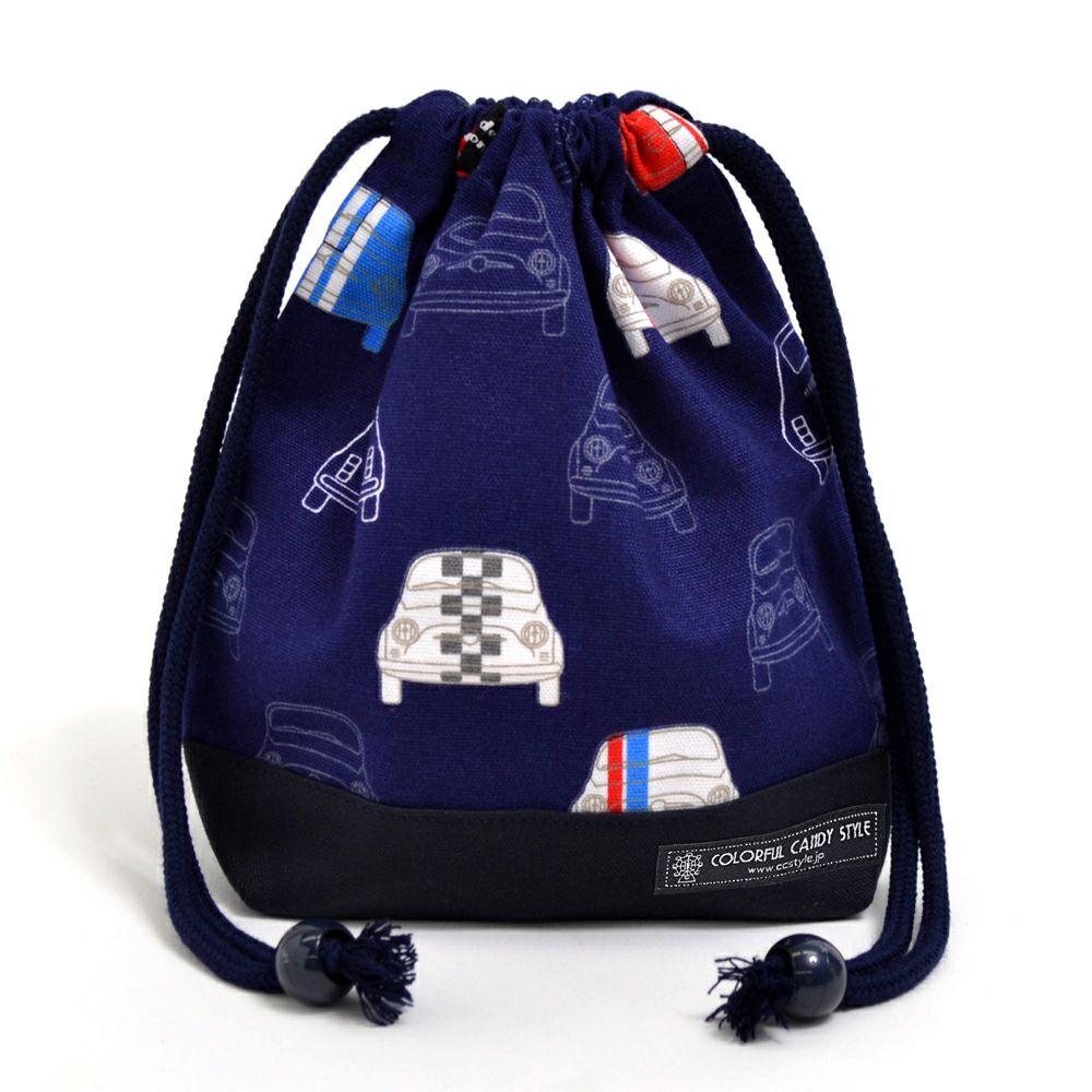 巾着 小 コップ袋(ネームタグ付き) 夢色ドライブはフレンチカラー(ネイビー) × オックス・紺_1
