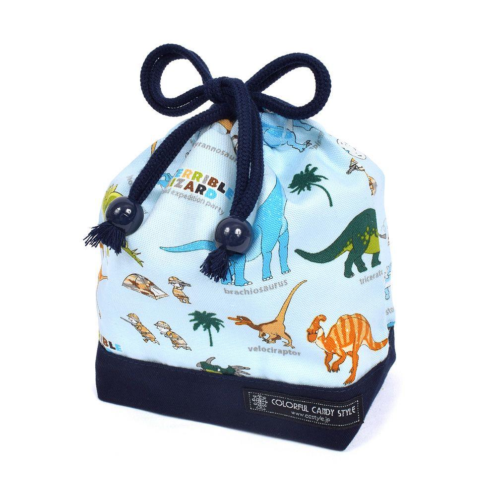 巾着 小 コップ袋(ネームタグ付き) 発見!探検!恐竜大陸(ライトブルー) × オックス・紺_1