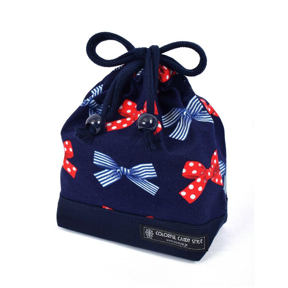 巾着 小 コップ袋(ネームタグ付き) ポルカドットとストライプのフレンチリボン(ネイビー)×オックス・紺_1