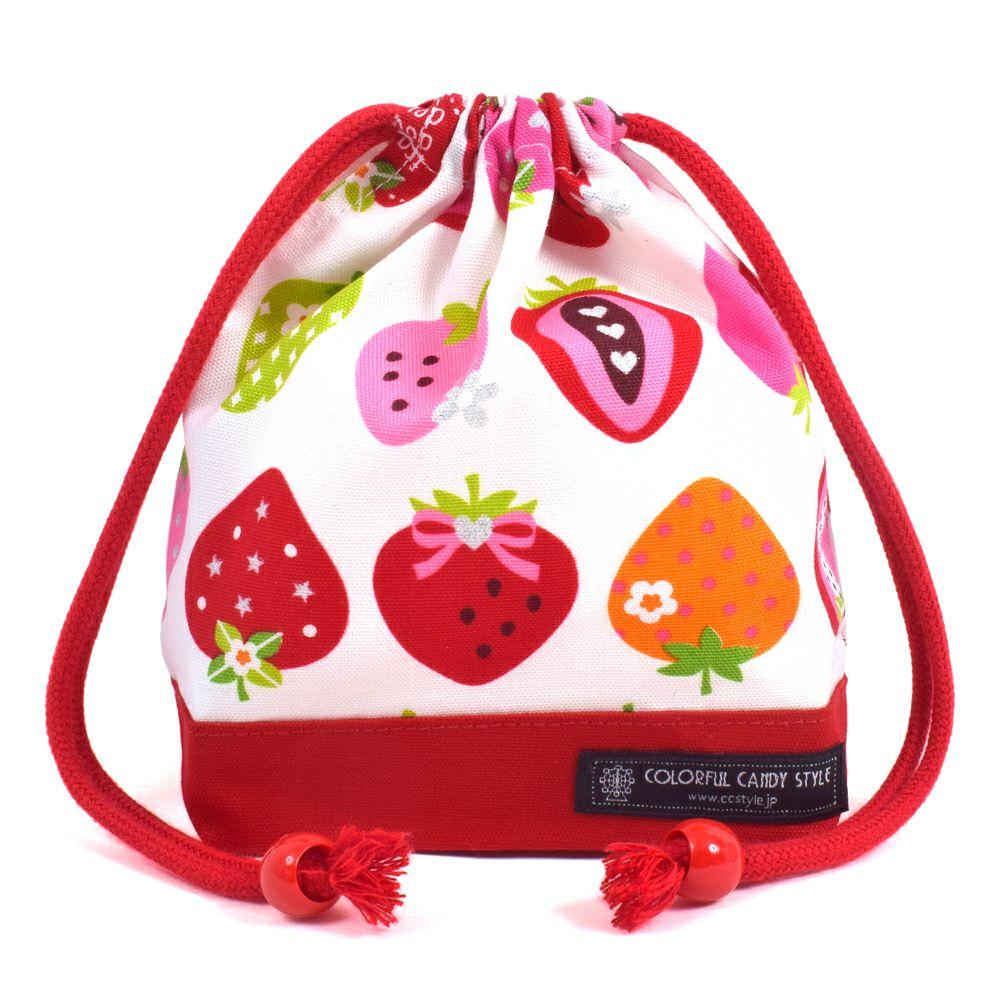 巾着 小 コップ袋(ネームタグ付き) スイートストロベリーコレクション(アイボリー)×オックス・赤_1