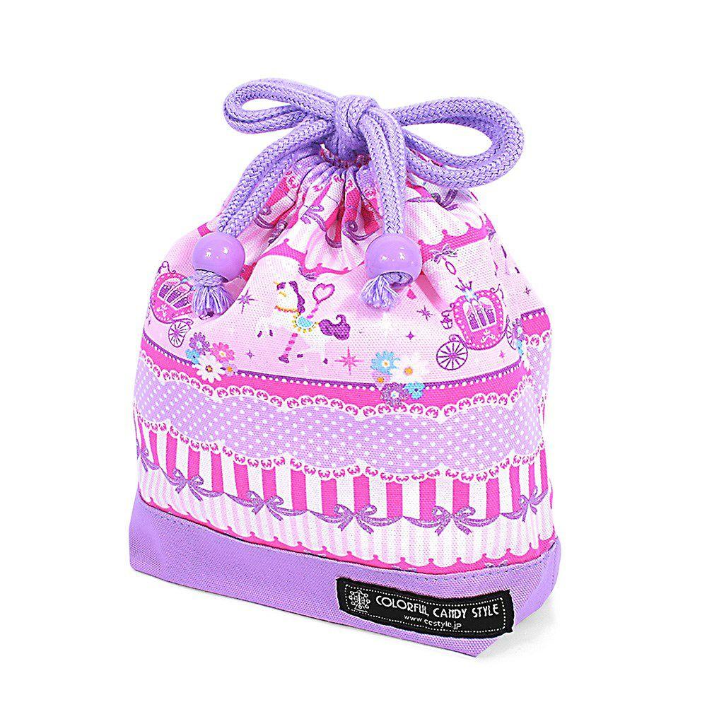 巾着 小 コップ袋(ネームタグ付き) レースチュールとメリーゴーランド(ピンク)×オックス・ラベンダー_1