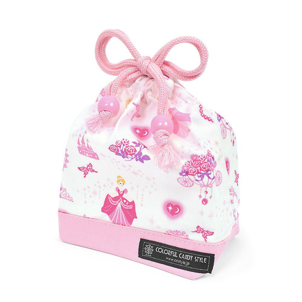 巾着 小 コップ袋(ネームタグ付き) プリンセスドレスで彩るパウダールーム(ホワイト)×オックス・ピンク_1