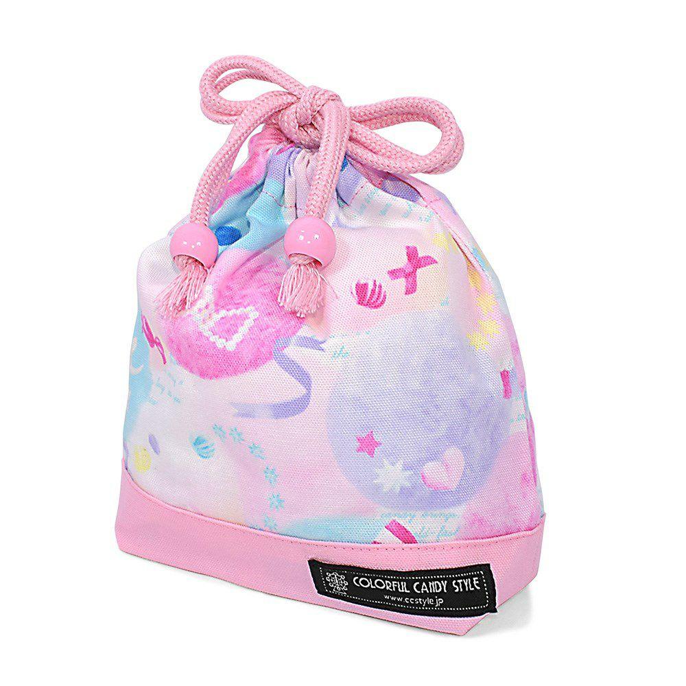 巾着 小 コップ袋(ネームタグ付き) ふわふわキュートなキャンディポップ×オックス・ピンク_1
