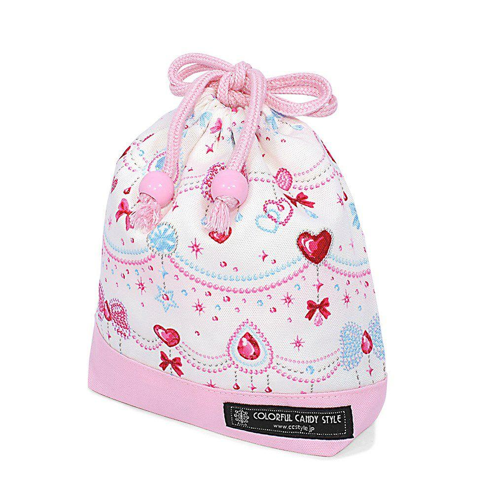 巾着 小 コップ袋(ネームタグ付き) きらきらリボンのジュエリーボックス×オックス・ピンク_1