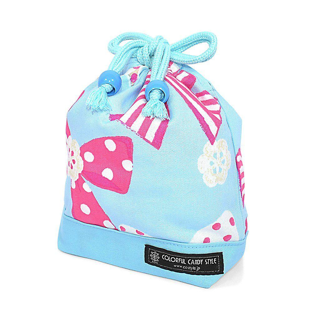 巾着 小 コップ袋(ネームタグ付き) アクアに揺れる大きなリボンコレクション×オックス・水色_1