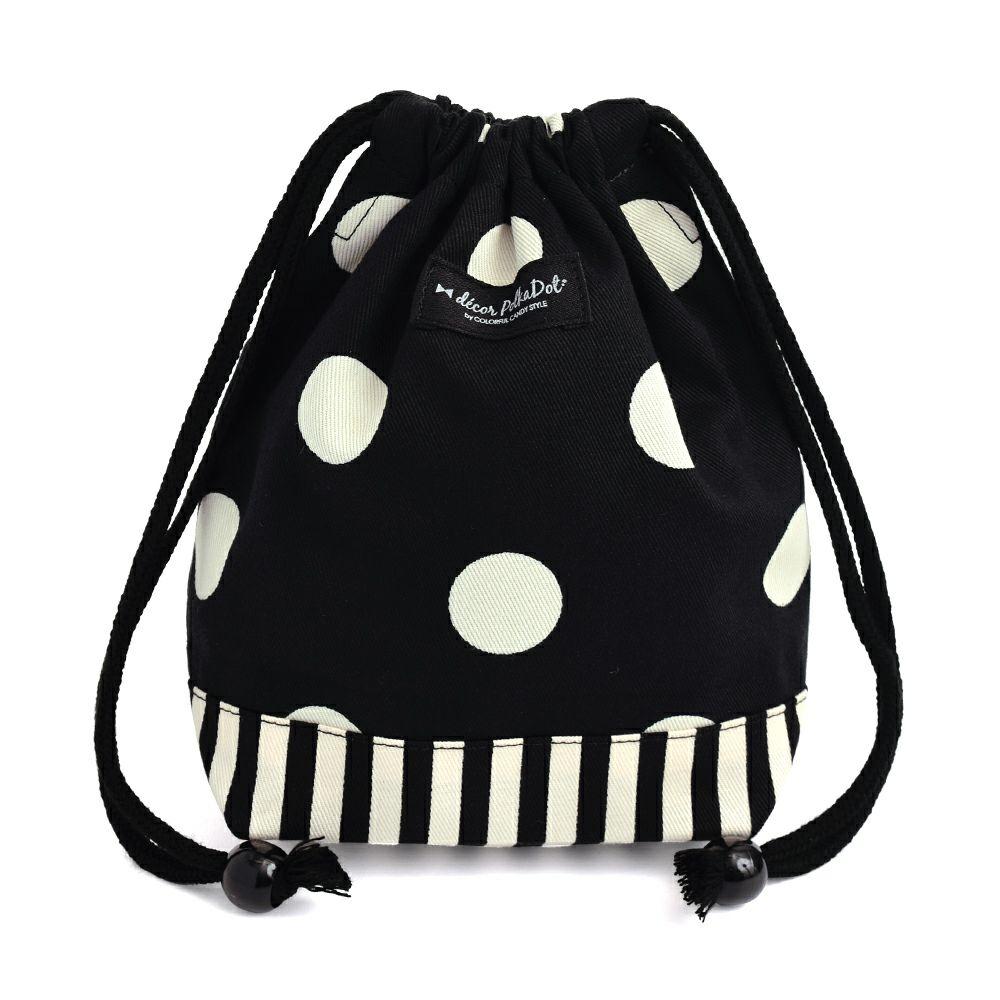 decor PolkaDot 巾着 小 コップ袋 polka dot large(twill・black)xnarrow stripe(twill・black)_1
