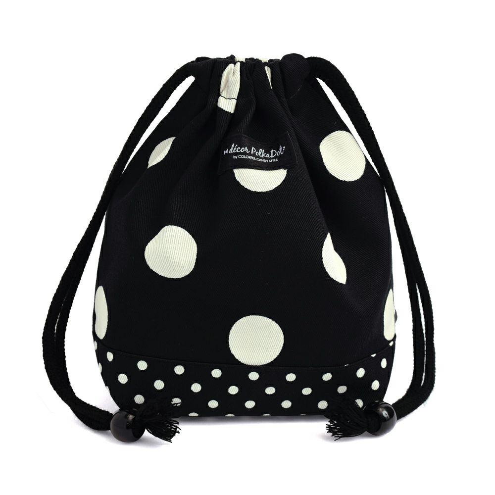 decor PolkaDot 巾着 小 コップ袋 polka dot large(twill・black)xpolka dot small(twill・black)_1