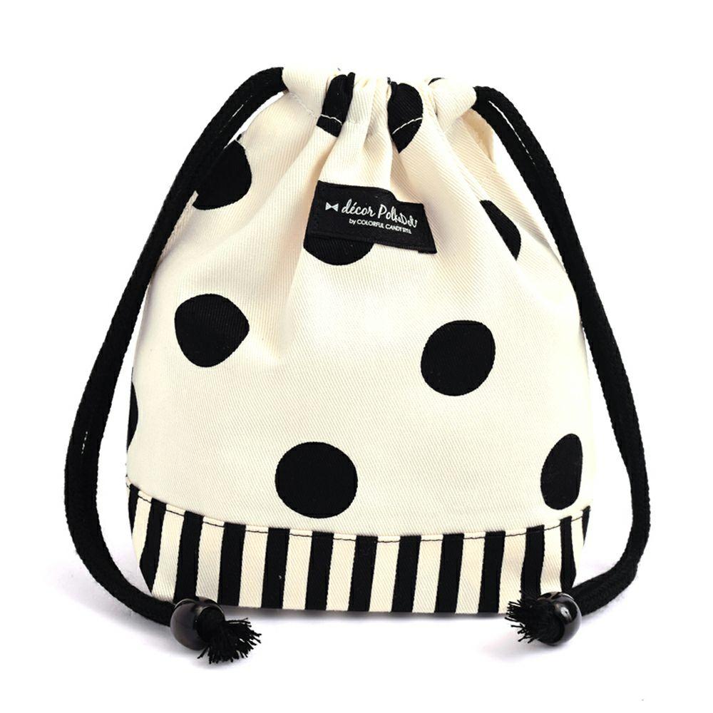 decor PolkaDot 巾着 小 コップ袋 polka dot large(twill・white)xnarrow stripe(twill・black)_1