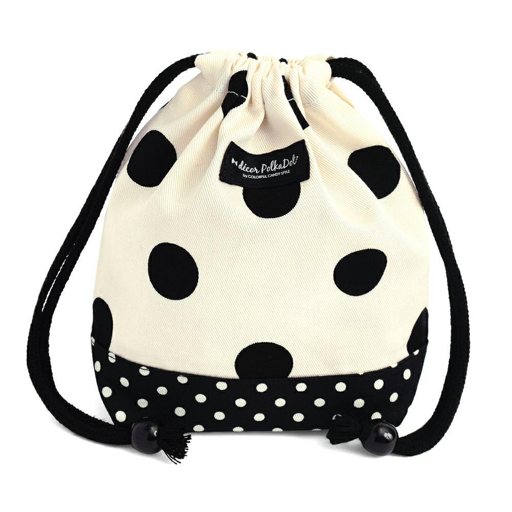 decor PolkaDot 巾着 小 コップ袋 polka dot large(twill・white)xpolka dot small(twill・black)_1